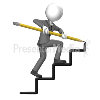Business Man Draw Stairs Presentation clipart