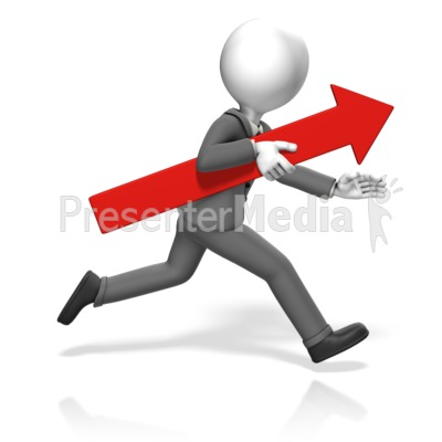 Business Man Run Arrow Presentation clipart