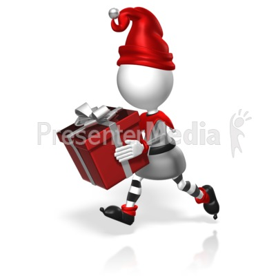 Elf Run Present Presentation clipart