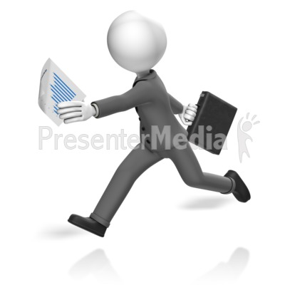 Businessman Run Paperwork Presentation clipart