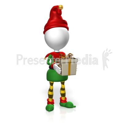 Elf Hold Present Presentation clipart
