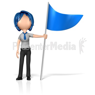 Business Woman Figure Holding Flag Presentation clipart