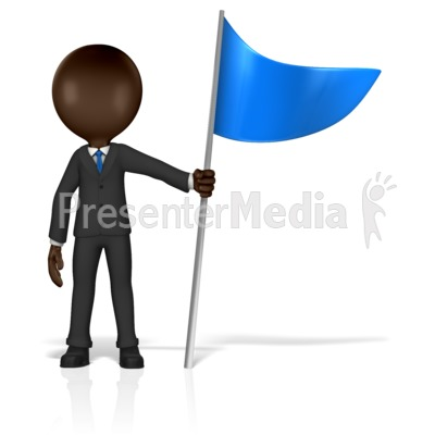 Business Figure Holding Flag Presentation clipart