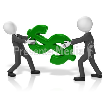 Businessmen Pull Dollar Presentation clipart