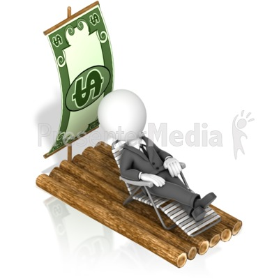 Businessman Money Raft Presentation clipart