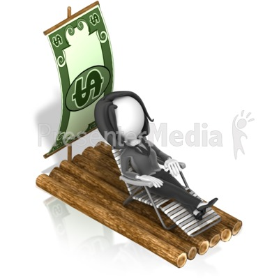 Business Woman Money Raft Presentation clipart