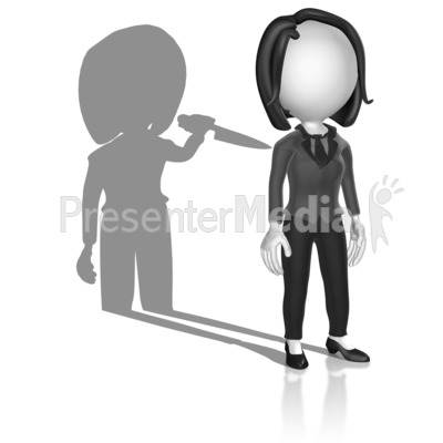 Shadow Holding Knife Presentation clipart