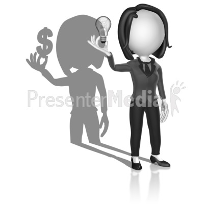 Shadow Woman Idea Money Presentation clipart