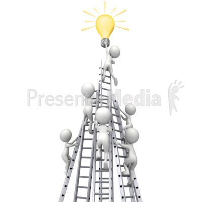 Figures Race Ladders To Idea Light Bulb Presentation clipart