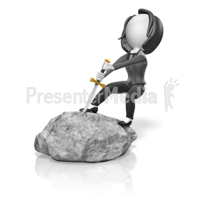 Business Woman Pull Sword Presentation clipart
