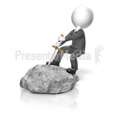 Businessman Pull Sword Presentation clipart