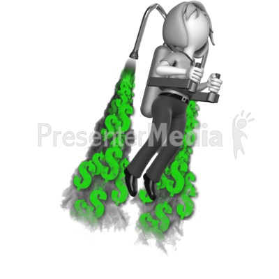 Businesswoman Custom Jetpack Exhaust Presentation clipart