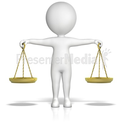 Figure Holding Justice Scales Presentation clipart