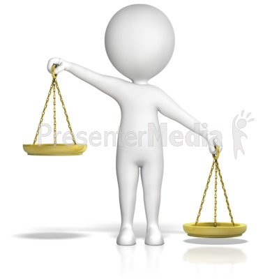 Figure Holding Justice Scales Uneven Rt  Presentation clipart