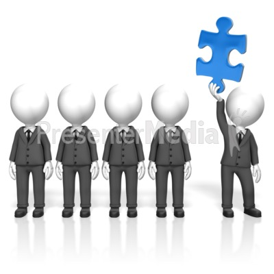 Businessmen Puzzle Stand Out Presentation clipart