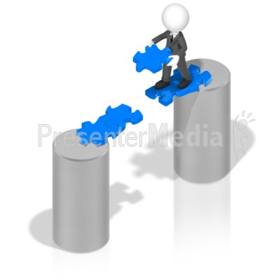 Businessman Puzzle Bridge Presentation clipart