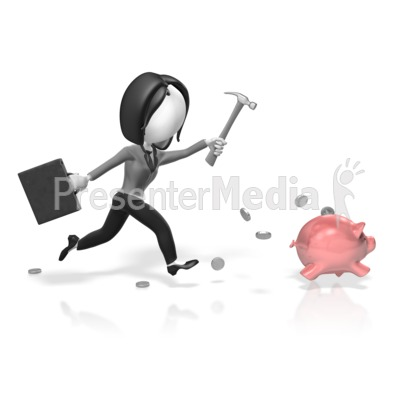 Business Woman Chase Piggy Bank Presentation clipart