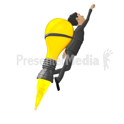 Businessman Flying On Idea Lightbulb Presentation clipart