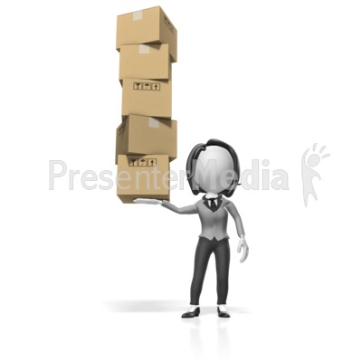 Business Woman Hold Boxes Presentation clipart