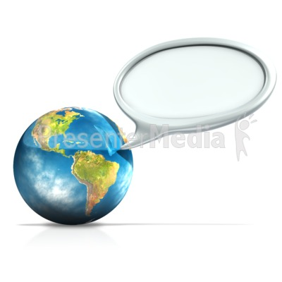Earth With Conversation Bubble Presentation clipart