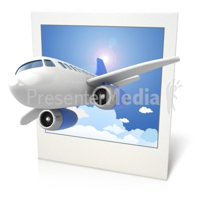 Airplane Clouds Photo 3D Presentation clipart