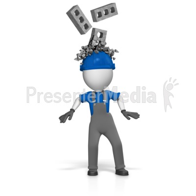 Worker With Bricks Breaking Over Helmet Presentation clipart