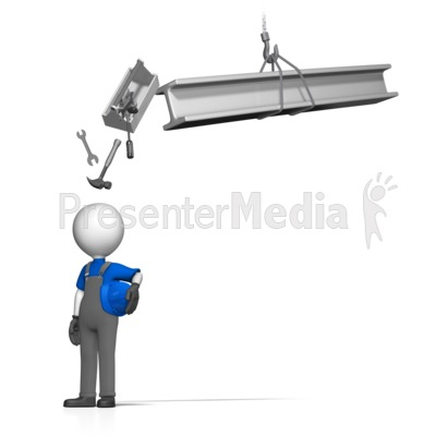 Toolbox Falling On Worker Presentation clipart
