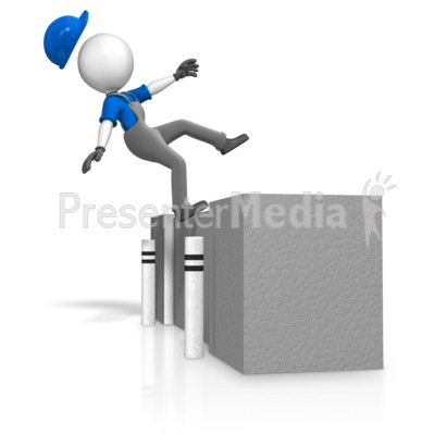 Figure Falling Off Loading Dock Presentation clipart