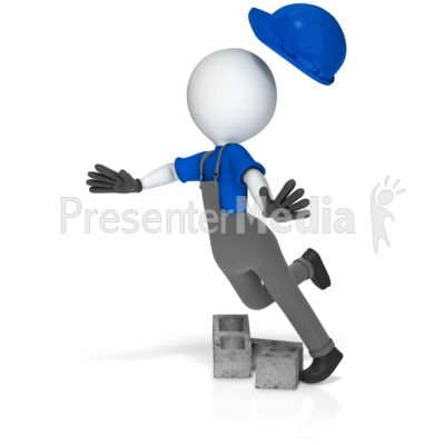 Worker Trip Over Cinder Blocks Presentation clipart