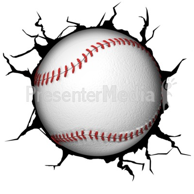 Crack Wall Baseball Presentation clipart