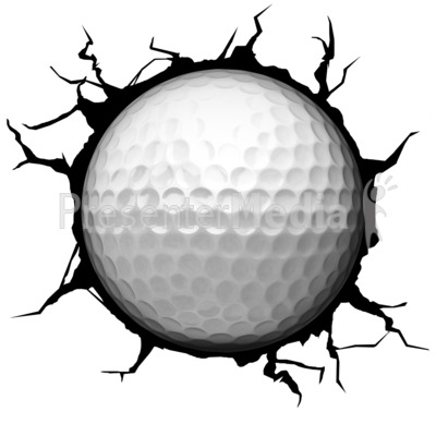 Crack Wall Golfball Presentation clipart