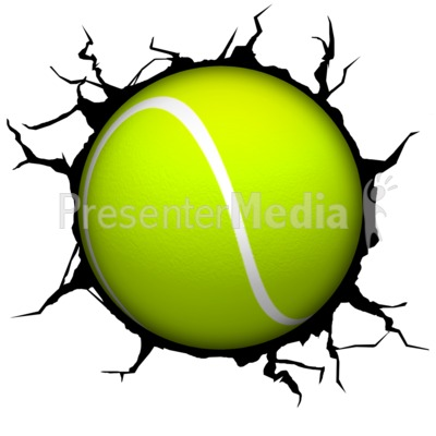 Crack Wall Tennisball Presentation clipart