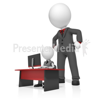 Giant Businessman Watch Man Presentation clipart