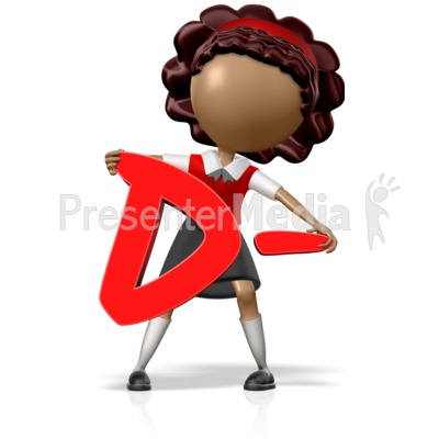 School Girl Holding a D- Presentation clipart