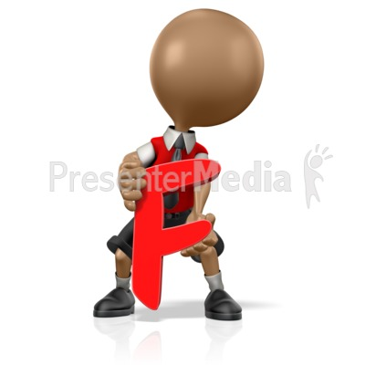 School Boy Holding an F Presentation clipart