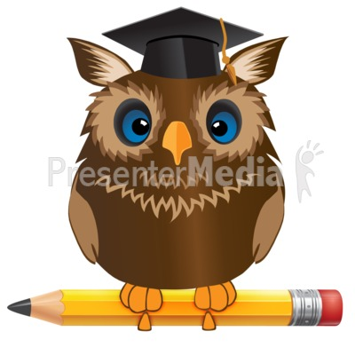 Owl Standing On Pencil Presentation clipart