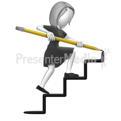Business Woman Draw Stairs Presentation clipart
