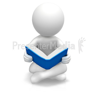 Figure Sitting Reading Book Presentation clipart