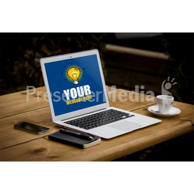 Thin Laptop On Table Presentation clipart