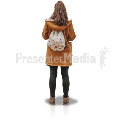 Young Girl Coat Backside Presentation clipart