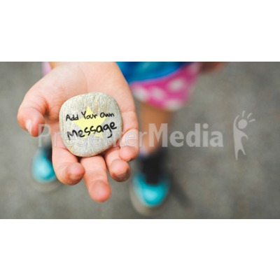 Girl Holding Rock Custom Presentation clipart