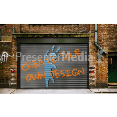 Graffiti On Warehouse Door Custom Presentation clipart