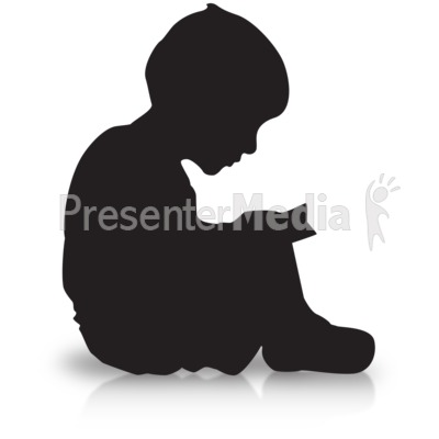 Boy Reading Silhouette Presentation clipart