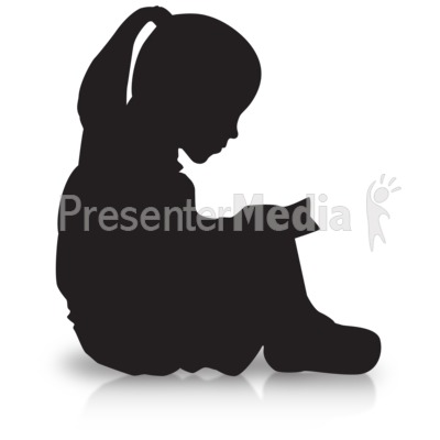 Girl Reading Silhouette Presentation clipart