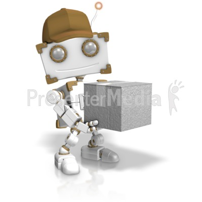 Delivery Robot Holding Closed Box Presentation clipart