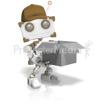 Delivery Robot Holding Open Box Presentation clipart