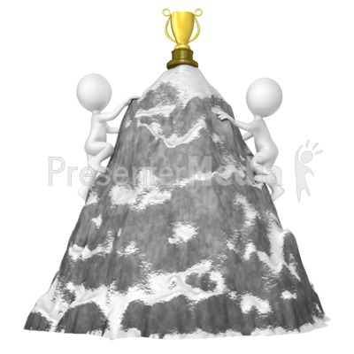 Figures Climb Mountain For Trophy Presentation clipart