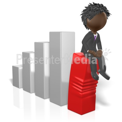 Businessman Sit On Graph Presentation clipart
