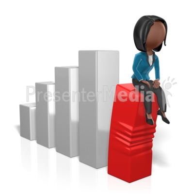 Business Woman Sit On Graph Presentation clipart