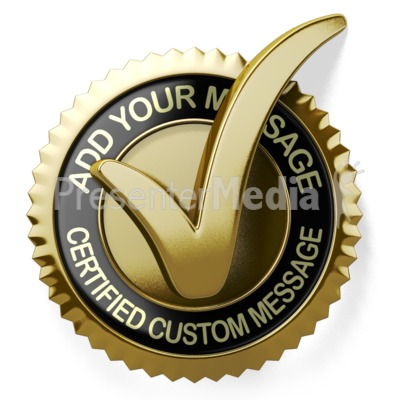 Gold Check Mark Seal Presentation clipart